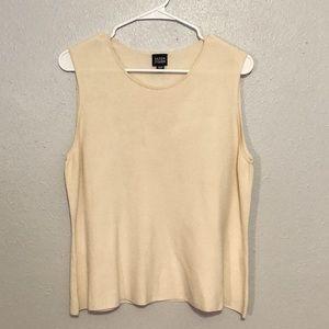 Eileen Fisher Cream Silk Tank Top Shirt L